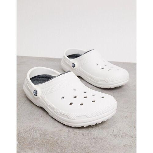 Crocs– Klassische Clogs mit Fellfutter inWeiß und Grau 45-46