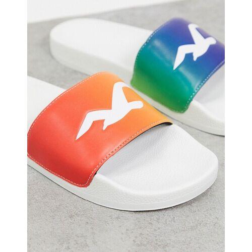 Hollister – Pride – Sandalen mit Logo in Weiß S