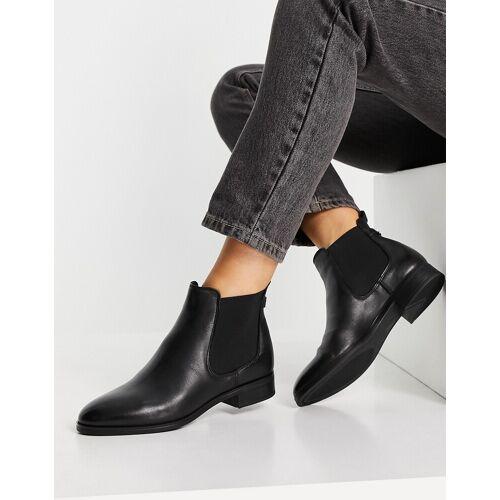 ALDO – Figiria – Flache Ankle-Boots aus Leder in Schwarz 40