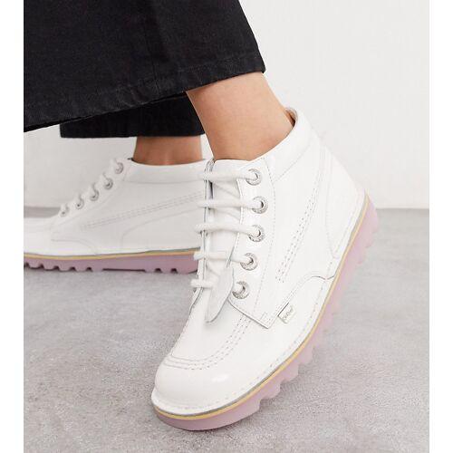 Kickers – Kick Hi Exclusive – Niedrige Stiefel in Weiß und Rosa 38