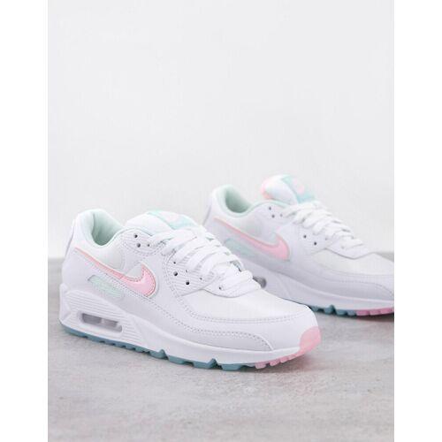 Nike – Air Max 90 – Sneaker in Weiß und zarten Pastellfarben 36.5