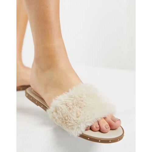 Pimkie – Slider-Sandalen mit Kunstfell in Beige-Neutral 40