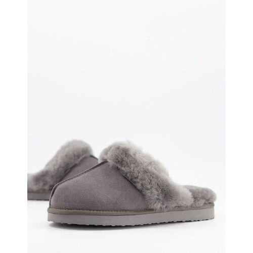 Redfoot – Graue Pantoffeln aus Schafsfell 36