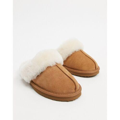 Redfoot – Hellbraune Pantoffeln mit Schafsfell 38