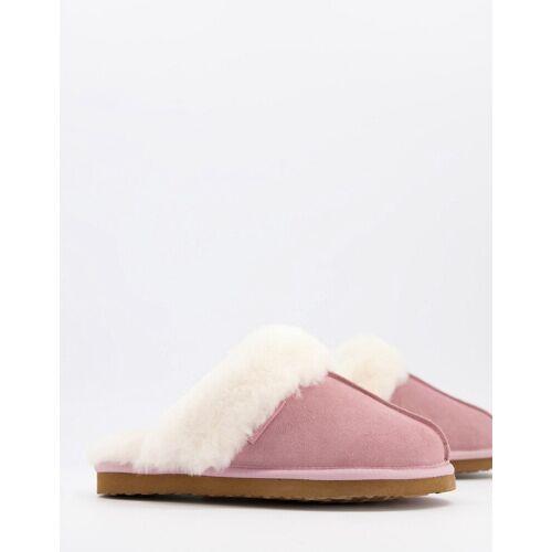 Redfoot – Rosa Pantoffeln mit Schafsfell 37