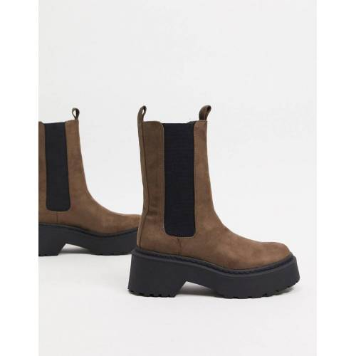 River Island – Hohe Ankle-Boots mit klobiger Sohle in Grau 36