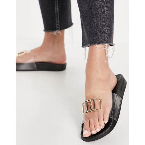 River Island – Slider-Sandalen aus Kunststoff mit Markenlogo in Schwarz 39