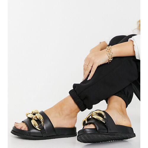 Z_Code_Z – Mimi – Exklusive Slider-Sandalen mit dicker Kette in Schwarz 36