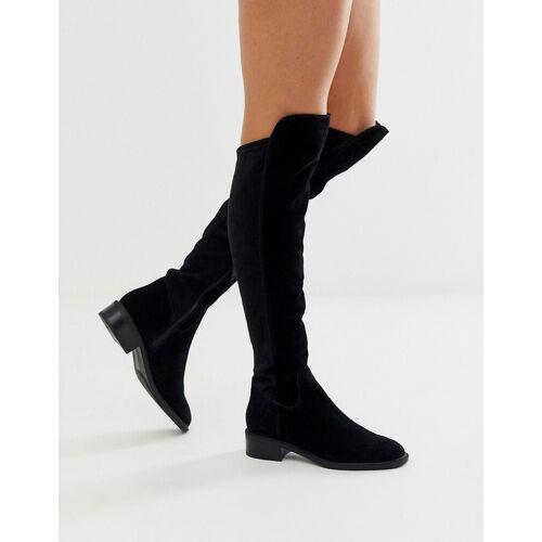 ALDO – Byssa – FlacheOverknee-Stiefel aus schwarzem Wildleder 37