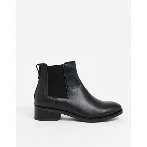 ALDO – Flache Ankle-Boots aus Leder in Schwarz 37