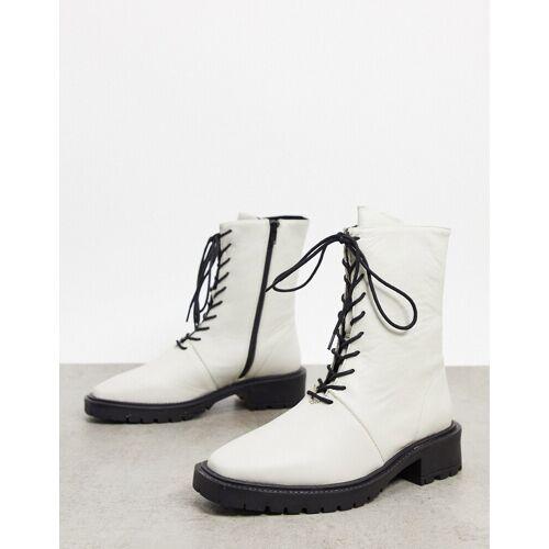 ASOS DESIGN – Alton – Geschnürte Stiefel in Weiß 40