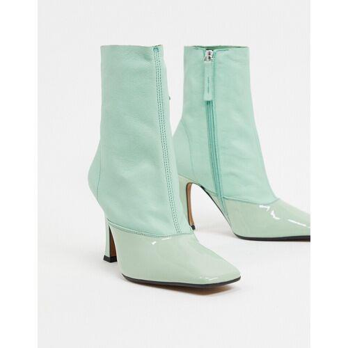 ASOS DESIGN – Ellie – Grüne Sock Boots aus Leder, mit Absatz 39