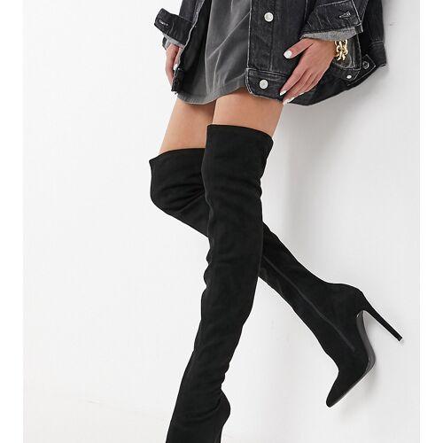 ASOS DESIGN Petite – Kendra – Schwarze Overknee-Stiefel mit Stiletto-Absatz 41