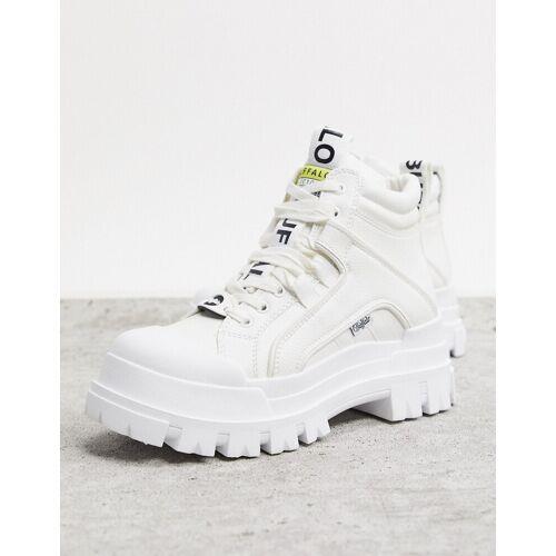 Buffalo – Aspha – Weiße, flache Ankle-Boots 39