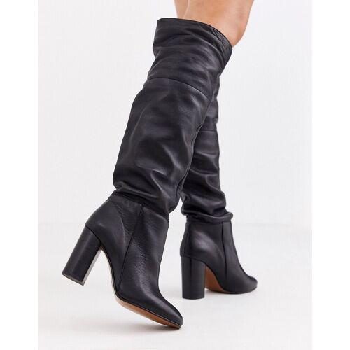 Depp – Kniehohe, lässige Stiefel aus Leder in Schwarz 40