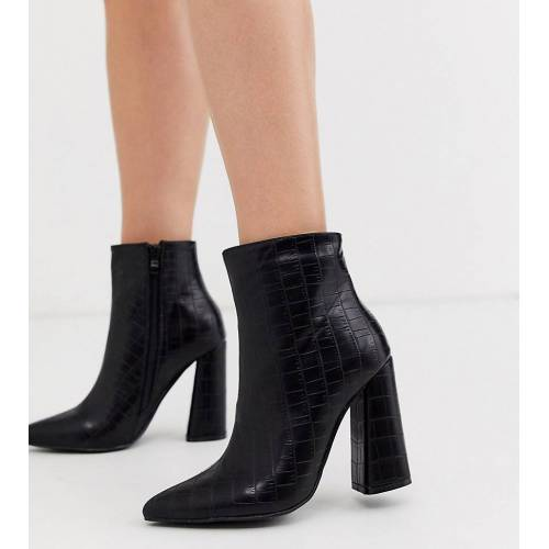 Glamorous – Exklusive schwarze Absatz-Stiefeletten in Kroko-Optik 41