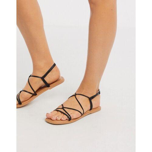 New Look – Flache, geschnürte Sandalen mit Riemen in Schwarz 39