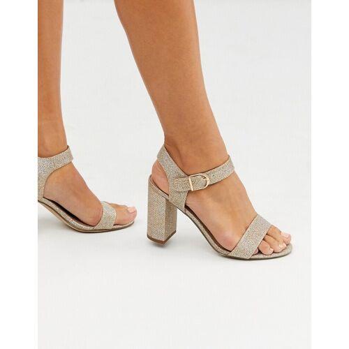 New Look – Minimalistische Sandalen mit Blockabsatz in Gold 38