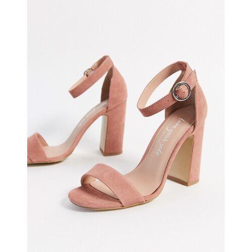New Look – Sandalen mit Blockabsatz-Rosa 42