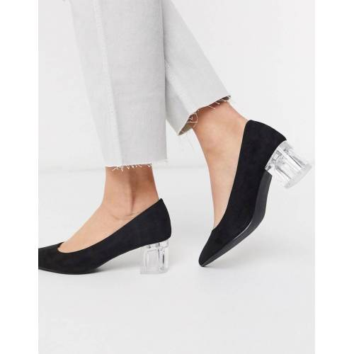 New Look – Schwarze Schuhe mit niedrigen, dursichtigen Blockabsätzen 36
