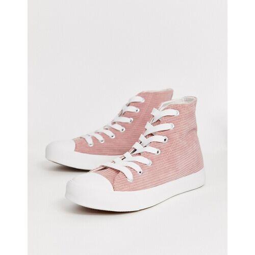 Park Lane – Hohe Sneaker aus rosafarbenem Cord zum Schnüren 38