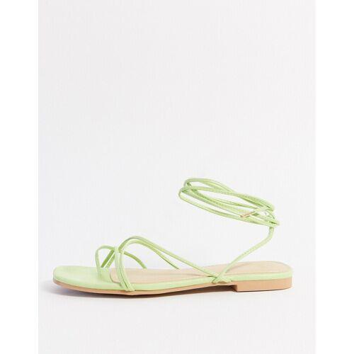 Pimkie – Flache, geschnürte Sandalen in Grün 39