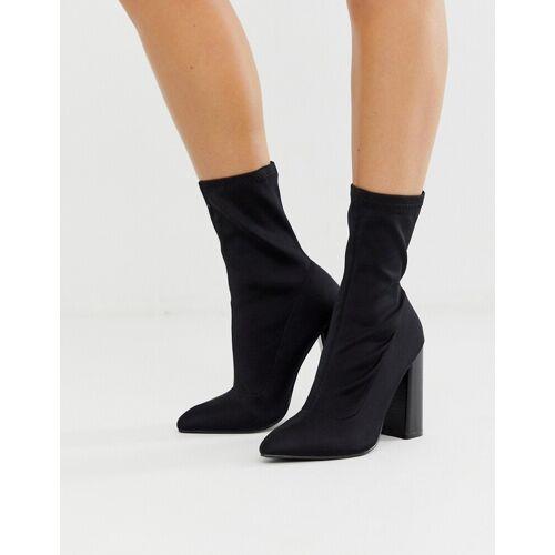 Public Desire – Libby – Knöchelhohe Sock Boots mit hohem Absatz, Schwarz 41
