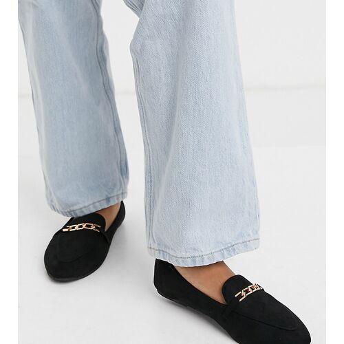 Raid Wide Fit – Lane – Flache Schuhe mit Goldkette in Schwarz 38