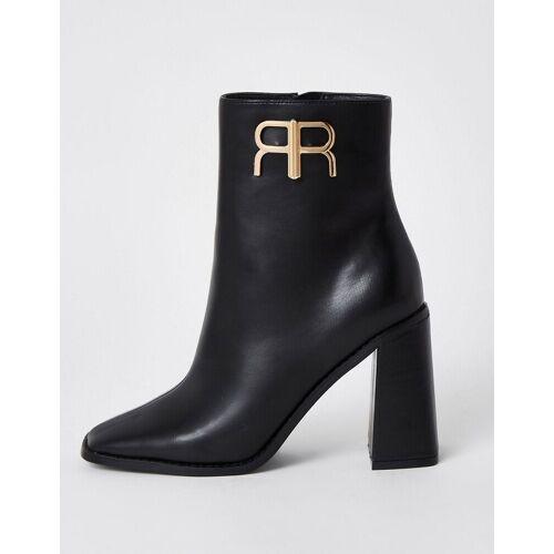 River Island – Ankle-Boots in Schwarz mit Markenlogo 39