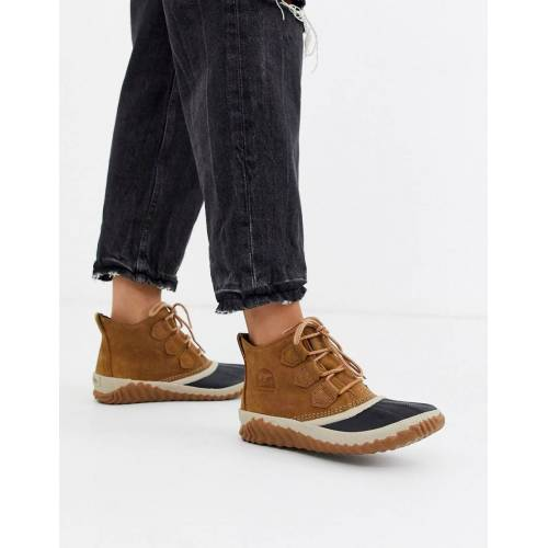 Sorel – Out N About Plus – Flache, wasserfeste Ankle-Boots in Camel-Beige 36
