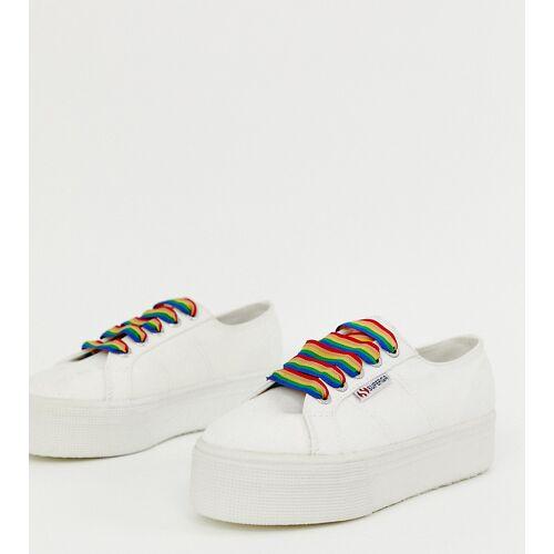 Superga – 2790 – Exklusive Sneaker in Weiß mit Schnürsenkeln in Regenbogenfarben 42