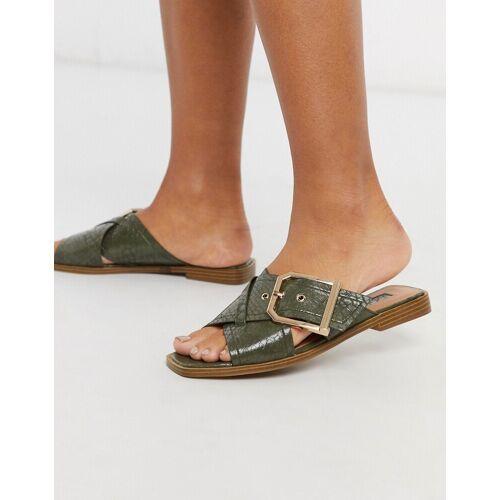 Topshop – Sandalen mit Schnalle in Khaki-Grün 41