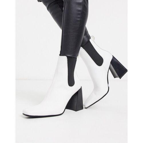 Topshop – Weiße Chelsea-Stiefel mit Absatz 39