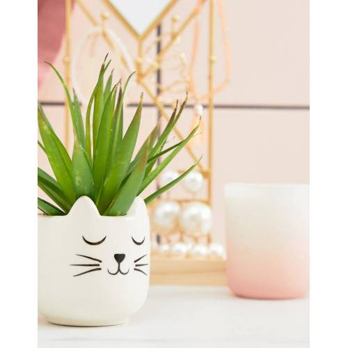 Sass & Belle – Kleiner Katzen-Pflanzentopf-Mehrfarbig No Size