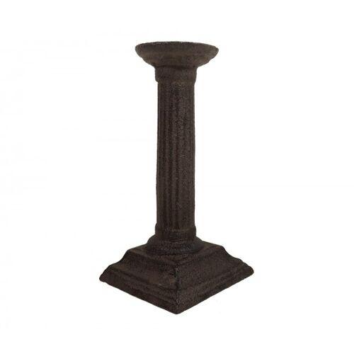 zeitzone Kerzenhalter Säule Antik-Stil Kerzenständer Gusseisen Braun 16cm