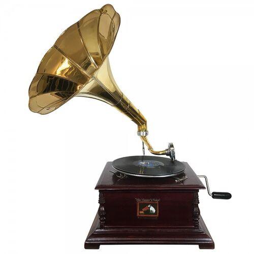 zeitzone Grammophon Nostalgie Schellackplatten Trichter Grammofon Antik-Stil 4-Eckig