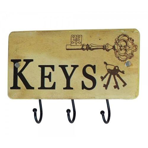 zeitzone Schlüsselbrett KEYS Schlüsselhalter 3 Haken Metall Antik-Stil
