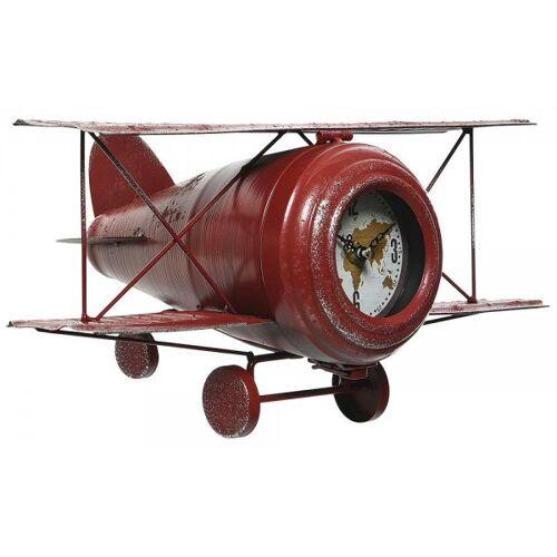 zeitzone Tischuhr Flugzeug Doppeldecker Rot Retro Nostalgie Uhr Vintage