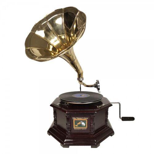 zeitzone Grammophon Nostalgie Schellackplatten Grammofon Trichter Antik-Stil 8 Eckig