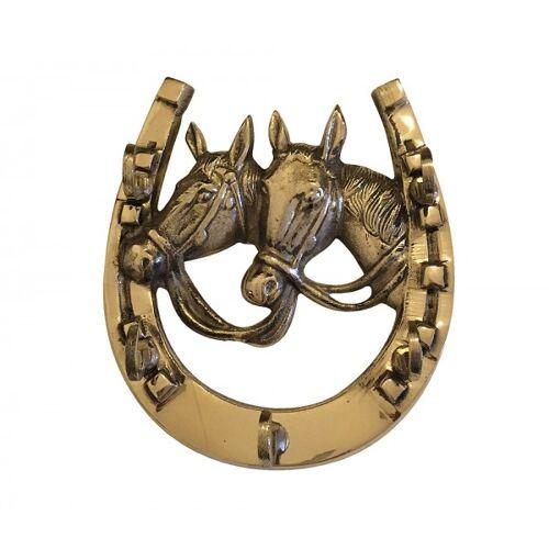 zeitzone Schlüsselbrett Wandgarderobe Hufeisen Pferde Messing Antik-Stil 12x11cm