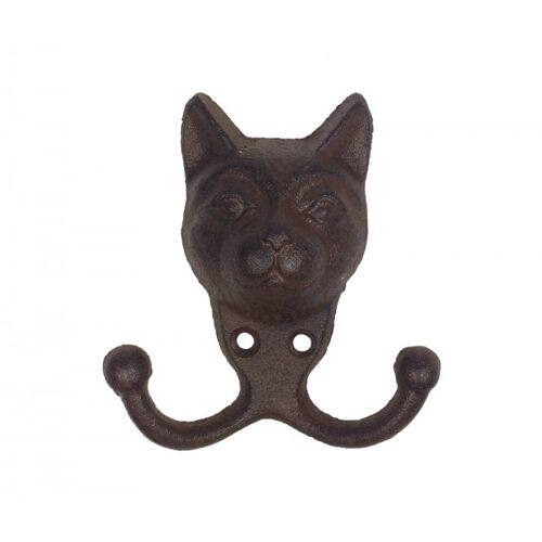 zeitzone Garderobenhaken Katze Wandhaken Doppelhaken Gusseisen Antik-Braun