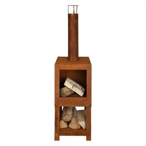 Esschert Design Terrassenofen mit Holzlager Rost Gartenofen Terrassenofen 137cm