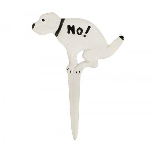 zeitzone Hundehaufen Verboten Schild NO! Hundekot Verbotsschild Erdspieß Gusseisen Weiß