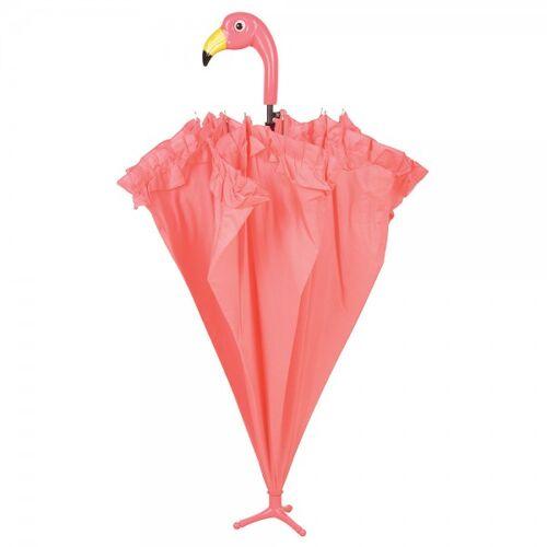Esschert Design Regenschirm Stockschirm Flamingo Pink mit Rüschen