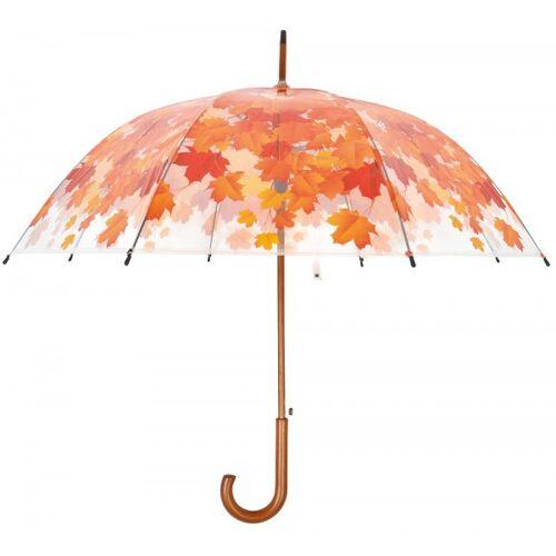 Esschert Design Regenschirm Blätter Herbst Laub Transparent Stockschirm Durchsichtig