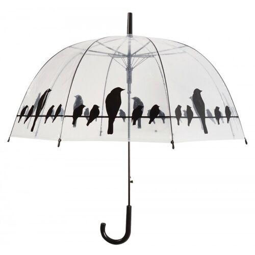 Esschert Design Regenschirm Vögel auf Stromleitung Transparent Stockschirm Durchsichtig Klar