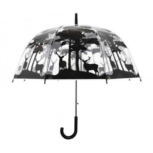 Esschert Design Regenschirm Hirsche Wild Wald Transparent Stockschirm Durchsichtig