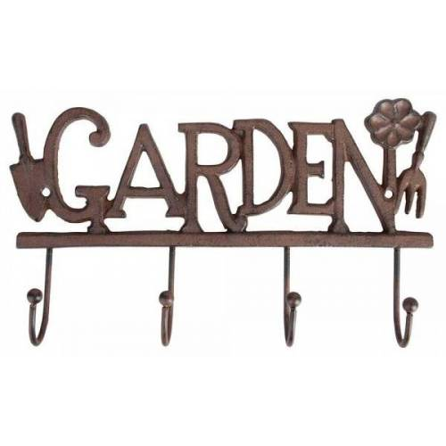 """Esschert Design Wandgarderobe """"Garden"""" Garderobe Wandhaken Gusseisen Vintage Braun"""