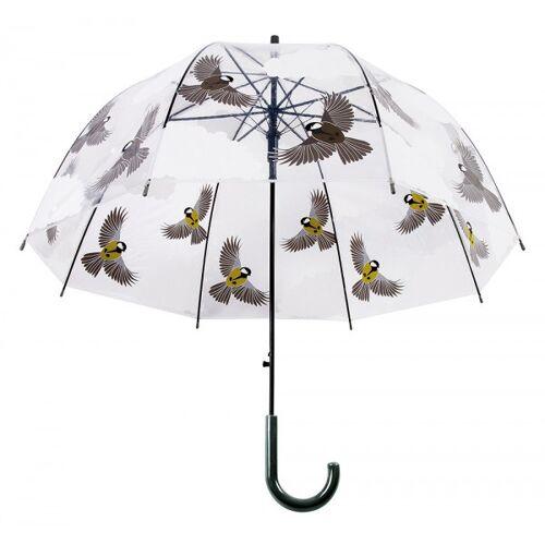Esschert Design Regenschirm Vögel beidseitig Transparent Stockschirm Durchsichtig
