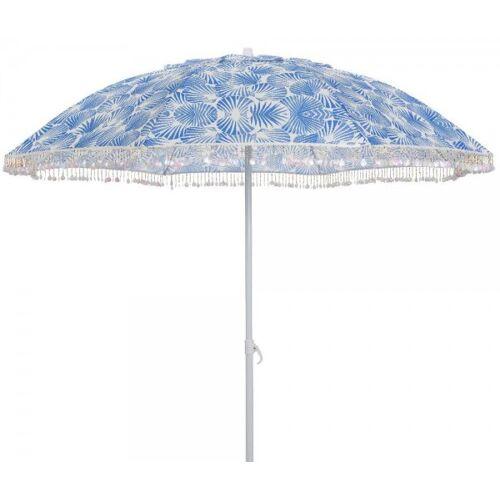 zeitzone Sonnenschirm Strand Muschel Blau mit Muscheldeko Gartenschirm Erdspieß Ø 180cm